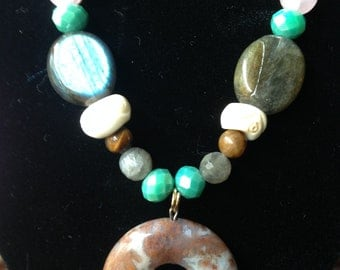 Moss Agate w/Labradorite Necklace -blessed with reiki prayer