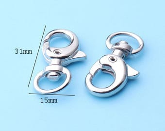 6pcs swivel clasp 7/16 Wide Silver Swivel Spring Trigger Snap Hooks Clip Lobster Clasps  Purse Landyard with o-ring -31*15mm lx6