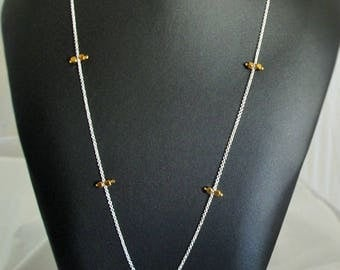 Silver chain necklace with gold stones- Silver plated chain- gold hematite (RP17A-kam271183711)