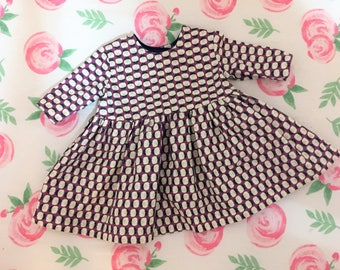 Handmade classic three quarter length sleeves floral cotton print baby girls dress, vintage.