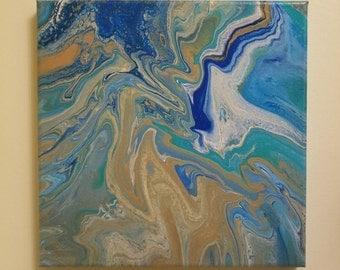 "Acrylic Pour Painting ~ ""Beach"""