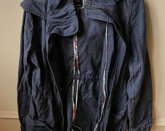 Muted Violet Anorak coat with zip and snap closure + hood