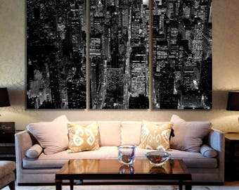 New York City Skyline Blue Canvas Wall Art Panoramic View Framed Print New York Canvas Print New York Wall Art New York Giclee Print Artwork