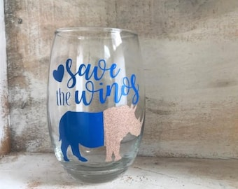Save the Winos RHINO Wine pun stemless glass, funny gifts, Personalized, Wine gifts
