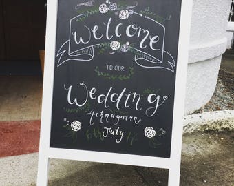 Custom Chalkboard Wedding  'Welcome' Signage Sign Hand Drawn Personalised Customised