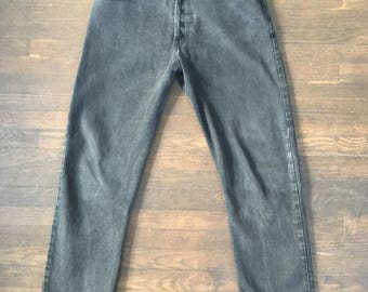 Vintage 90s Guess Black Jeans 32 X 30 501 cut USA 80s Goth Button Fly Vtg