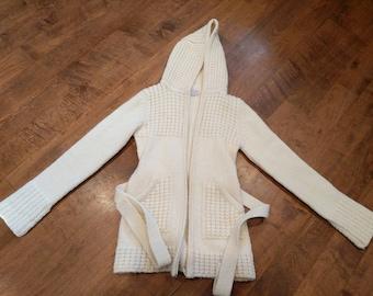 Vintage Barbara Lee Wool Hooded tie zip cardigan Small