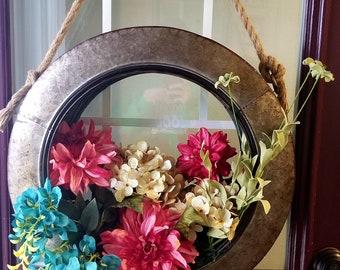 Metal Tire Wreath, Rustic Decor, Spring Front Door Wreath, Farmhouse Decor, Country Decor, Summer Front Door Wreath