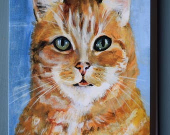 GINGER TOM CAT  Blank Greetings Card from original acrylic artwork by Sara Tuckey
