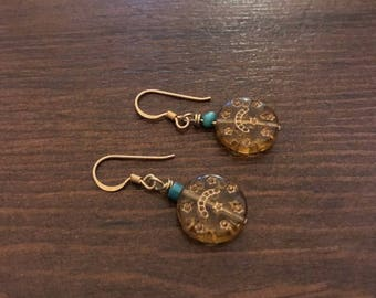 ethnic tuquoise and gold plated silver earrings