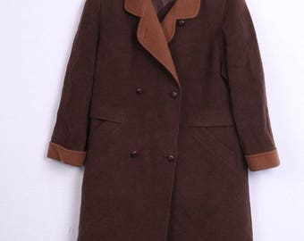 Hensel&Mortensen Womens 2XL 21 Coat Double Breasted Brown Lambswool Vintage