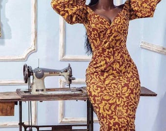African Print Midi Dress - Balloon Sleeves - Ankara -  African Dress - Handmade - Africa Clothing - African Fashion