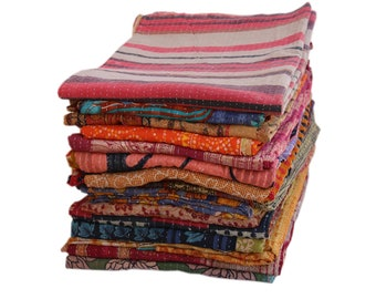 5 Pc Lot Of 5 Indian Kantha Quilt Kantha Bedspreads Tribal Ralli Vintage Cotton Blankets Old Assorted Patches Rally Handmade Kantha Throw