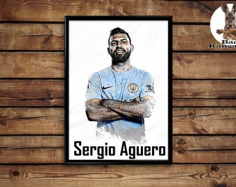 Sergio Aguero print wall art home decor poster