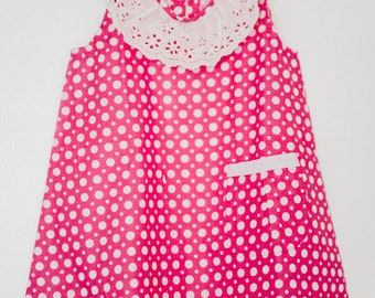 Light pink with polka dots and Pocket dress and lace collar - 2 years
