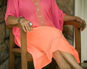 Dual-tone, handmade embroidery, V neck, kaftan