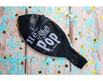 He Or She Pop To See Pink or blue Confetti Balloon