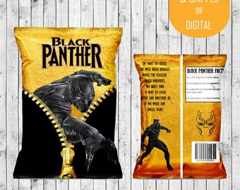 Black Panther Party Favor Bags - Custom Chip Bags - Black Panther Birthday - Black Panther Marvel - Black Panther Party - Digital - Chip Bag