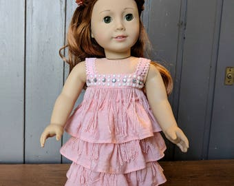 18 Inch Doll Clothes - Cute Pink Bling and Fringe Flapper Style Party Dress fits American Girl