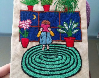 Diary with hand embroidered
