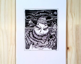 T-Shirt Sailor Hypster, sailor, sailor beard, Viking illustration Style linocut