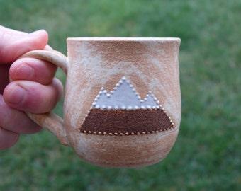Ceramic mountain coffee or tea mugs 9 fl. oz. (2 mugs)