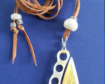 Fish Hook Pendant carved from Mother of Pearl