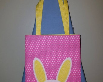 Pink and Yellow Easter Bunny tote bag