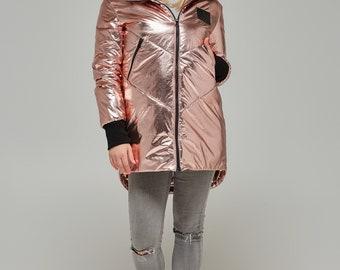 Trendy Metallic Rose Gold Jacket