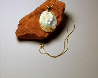 "Mother of Pearl cameo pendant with 18"" 14K gold filled tubular platinum chain, 30x40mm boy or girl cameo pendants, .925 sterling silver bail"