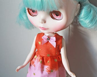 How Painterly / One-of-a-Kind Doll Dress for Blythe