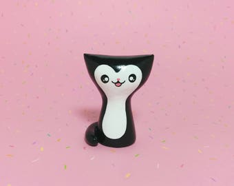Black Tuxedo Kitty Figurine - Clay Cat