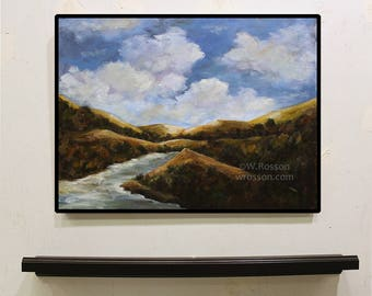 River and Mountaings, Original Painting, Landscape, River painting, Mountain Painting, Winjimir, Home Decor, Office, Wall Art, Gift, Art