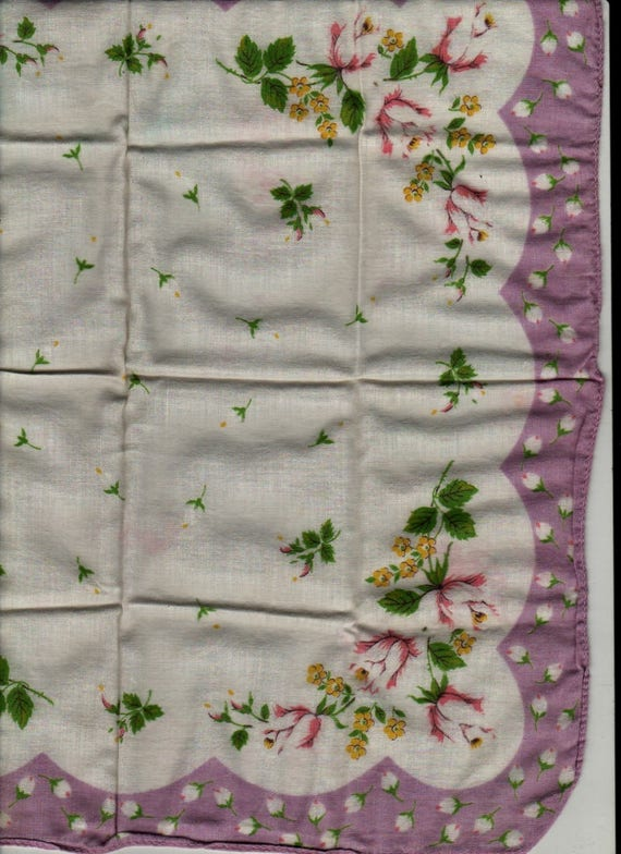 Pink and White Roses with Purple Border Handkerchief - Vintage Linens