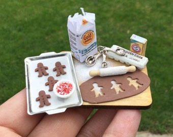 Making Homemade Gingerbread Men Cookies Preparation Board - IGMA Artisan Diane Paone Dollhouse Miniature Food