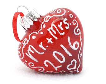 First Christmas Ornament - Hand Painted Inside and Outside - 2 Inch Wide Mr & Mrs 2016 Glass Heart