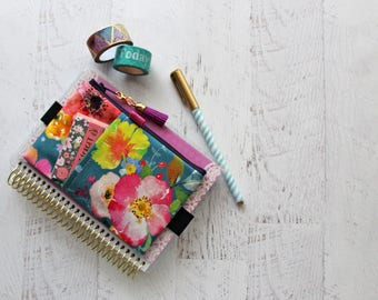 Watercolor floral journal accessories bag - small planner pouch - flower print bag - happy planner pouch - mini planner cover