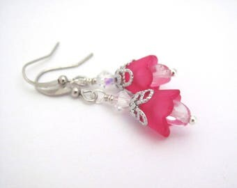 Hot Pink Flower Earrings Swarovski Crystal, Beaded Earrings, Silver Tone, Woodland Boho Wedding, Dainty Dangle Bohemian Earring, Hawaiibeads
