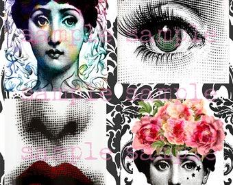 SALE Fornasetti Art instant Digital Download Collage Sheet Fornasetti Lina Cavalieri Portrait Printable Vintage Face