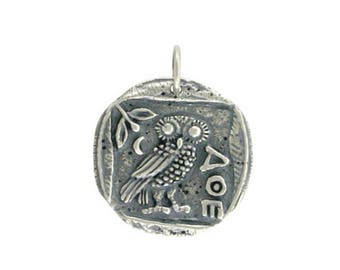 Athena's Owl Pendant- Sterling Silver Bronze or Gold Ancient Coin pendant, charm, back to school gift for her, wisdom, greek mythology, diy