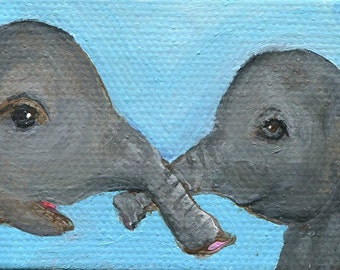 Mama and Baby Elephant acrylic painting Mini Canvas Art with Easel, 2 x 4