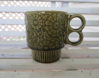 Green Stackable Flower Mug with Double Handle - Japan Midcentury
