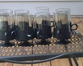 Mid Century Glas-Snap by Corning Black Set of Eight Tumblers with handles Barware