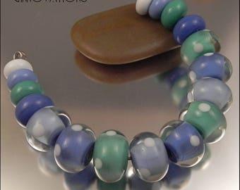Ginnovations lampwork, Periwinkle Seafoam bead set (17 beads)
