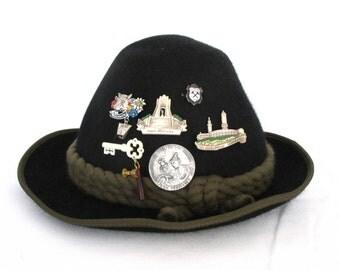 Alpine Hat with Pins Vintage Bavarian Felt Hat Oktoberfest Pins Alps Hiking Hiker Gifts Souvenirs Birthday Wall Art Hanging