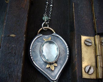 forest's heart ... green amethyst mixed metal pendant