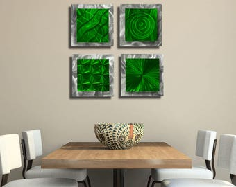 Modern Metal Wall Art In Green & Silver, Abstract Wall Sculptures, Holiday Decor, Gifts For Him, Wall Accents - 4 Squares Green by Jon Allen