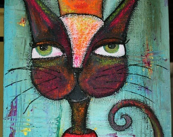 Her Highness Queen of the Kitties Cat painting Kitty with crown Colorful abstract background Neon Funky Feline Wall Art