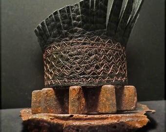 B1573 SALE Prototype Leather Fringe Cuff XSMALL