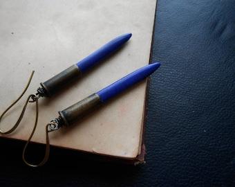 bizarre love triangle - bright blue earrings cobalt earrings brass bullet earrings repurposed jewelry points spiked earrings minimal